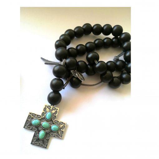 chapelet perles noires croix turquoise metal